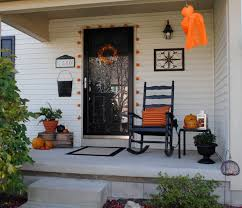 beautiful halloween porch decorations ideas presenting black ravishing halloween porch decorations ideas showcasing little garland mounted front door and orange pumpkins near old wooden chair at wooden home