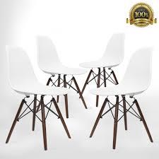 eames style eiffel dining chair 4 piece dark walnut u2013 urbanmod