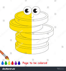the color book cute gold cash coins coloring book stock vector 602251370