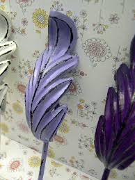 feather leaf 3 wall hook set shabby chic boho lavender white