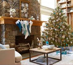 Brown And Turquoise Christmas Tree Decorations by Holiday Rooms In Blue And White Traditional Home