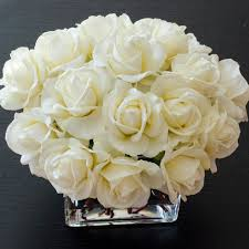 Square Vase Flower Arrangements White Real Touch Rose Square Glass Arrangement U2013 Flovery
