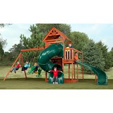 swing n slide grandview twist wood swing set walmart com