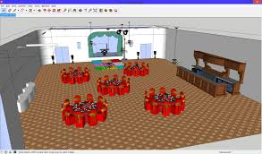 banquet room layout done on google u0027s 3d sketchup which is free to