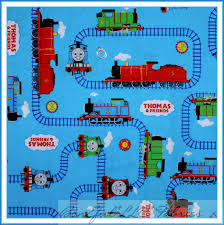 boneful fabric fq thomas tank engine red white blue train baby dot