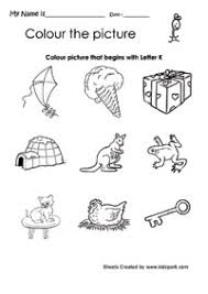color the picture that begins with letter k printable english