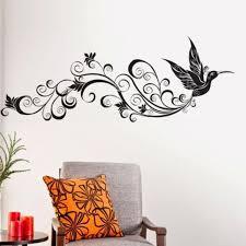 curly tail bird floral wall sticker decal wall art stencils blog