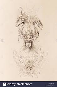 man in mystic fire and ornamental dragons pencil sketch on paper