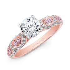 pink wedding rings and white white and pink diamond engagement ring
