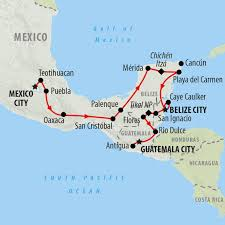 Map Of Mexico Cancun by Central America Tours Holidays To Central America On The Go Tours