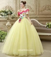 unique quinceanera dresses yellow floral tulle unique quinceanera dress with one shoulder