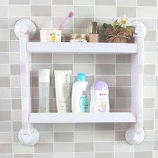 Bathroom Suction Shelves Plastic Wall Mounted Suction Cup Storage Rack Traceless Vacuum