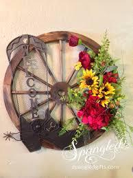 wagon wheel welcome wreath arrangement spangled pinterest