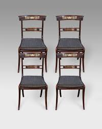 Set Of Four Dining Chairs Set Of 4 Antique Dining Chairs Brass Inlaid Chairs Four Dining
