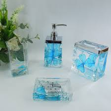 Acrylic Bathroom Accessories Sky Blue Floral Acrylic Bath Accessory Sets H4001 Wholesale Faucet