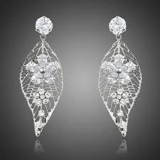 Chandelier Earrings Bridal Crystal Chandelier Earrings Leaf Design Cubic Zirconia Drop
