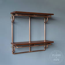 industrial copper and reclaimed wood shelving 3 column 2 tier