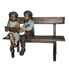 kids reading bench bronze two kids reading on bench sculpture metropolitan