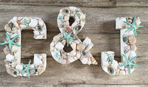 beach wedding decor set of 3 decorative letters shell decor