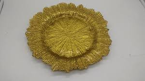 sale new design lead free fancy gold reef gold glass charger