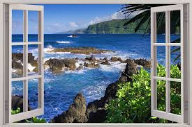 huge 3d window exotic beach view wall stickers film mural art huge 3d window exotic beach view wall stickers film mural art decal wallpaper ebay www