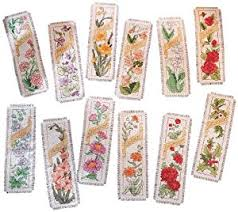 Flower Of The Month Amazon Com Bucilla Counted Cross Stitch Bookmark Kit 2 5 By 8