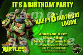 teenage mutant ninja turtle birthday invitations teenage mutant