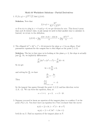 Partial Sums Worksheets Math 53 Worksheet Solutions Partial Derivatives 1 If F X Y