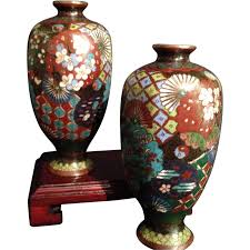 Antique Cloisonne Vases Japanese Antique Pair Of Highly Decorated Cloisonné Vases From