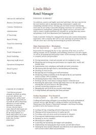 Sample Summary In Resume by Retail Manager Cv Template Resume Examples Job Description