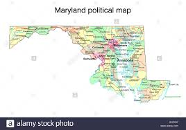 Map Of Maryland Maryland State Political Map Stock Photo Royalty Free Image