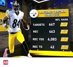 Antonio Brown Meme - sot antonio brown steelers since 2013 nfl rank targets 667 1st rec