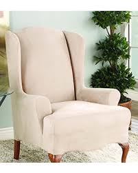 sure fit slipcovers wing chair check out these deals on sure fit stretch suede wing chair