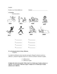 spanish reflexive verbs quiz with listening script and answer key