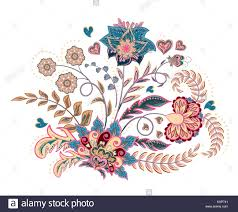embroidery stitches with flowers in pastel color vector
