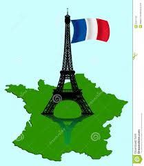 A Map Of France by The Eiffel Tower With A Map And Flag Of France Royalty Free Stock