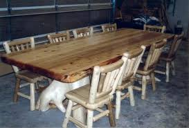 Log Dining Room Table Rustic Pine Slab Log Dining Table With Bench Set Room