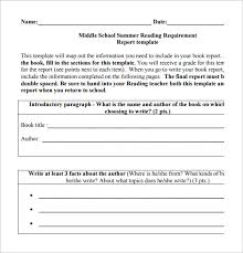 6 middle school book report templates free pdf documents
