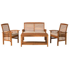 Acacia Wood Outdoor Furniture Durability by Walker Edison Furniture Company 4 Piece Acacia Wood Light Brown