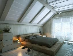 bedroom relaxing attic bedroom design with grey bed sheet and