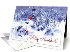 feliz navidad spanish christmas card with vintage winter scene