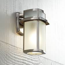Light Fixture Outdoor Brushed Nickel Frosted Glass 11 1 4 High Outdoor Wall Light