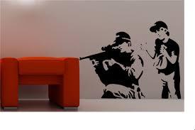 banksy wall stickers ebay banksy style sniper wall art sticker vinyl quote graffiti lounge kitchen
