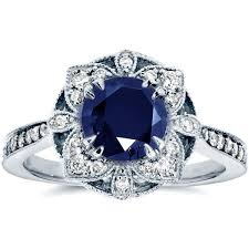 sapphire rings vintage images Antique floral sapphire and diamond engagement ring 1 1 2 carat jpg