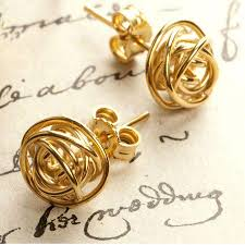 gold stud earings gold nest stud earrings by otis jaxon silver jewellery