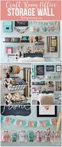 a beautiful colorful craft room office wall with pegboard for