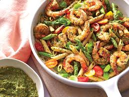 Dinner Ideas With Shrimp And Pasta Spinach Pesto Pasta With Shrimp Recipe Cooking Light