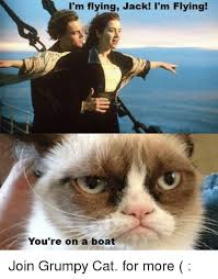 Cat Meme Boat - i m flying jack i m flying you re on a boat join grumpy cat for