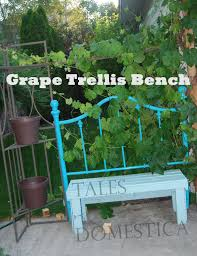 upcycled brass headboard and pallet to a bench trellis tales of