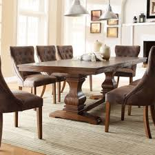 overstock dining room tables atelier traditional french burnished brown pedestal extending dining